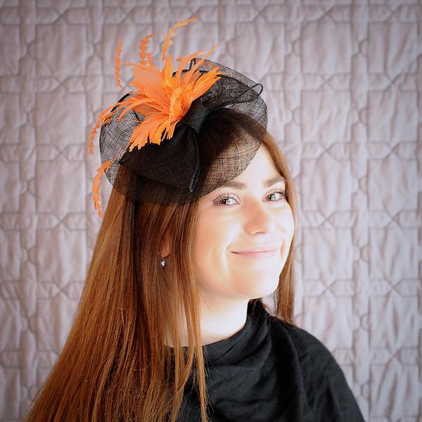 Black Orange Flower Fascinator - Miss Lizzy s Foundation 5e584797cb0